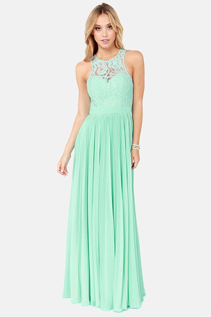 Bariano High Neck Lace Gown Mint Pleated Formal Wear Gold