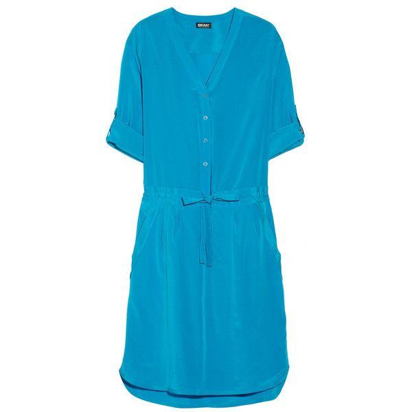 DKNY Stretch-silk crepe de chine shirt dress (€215) found on Polyvore