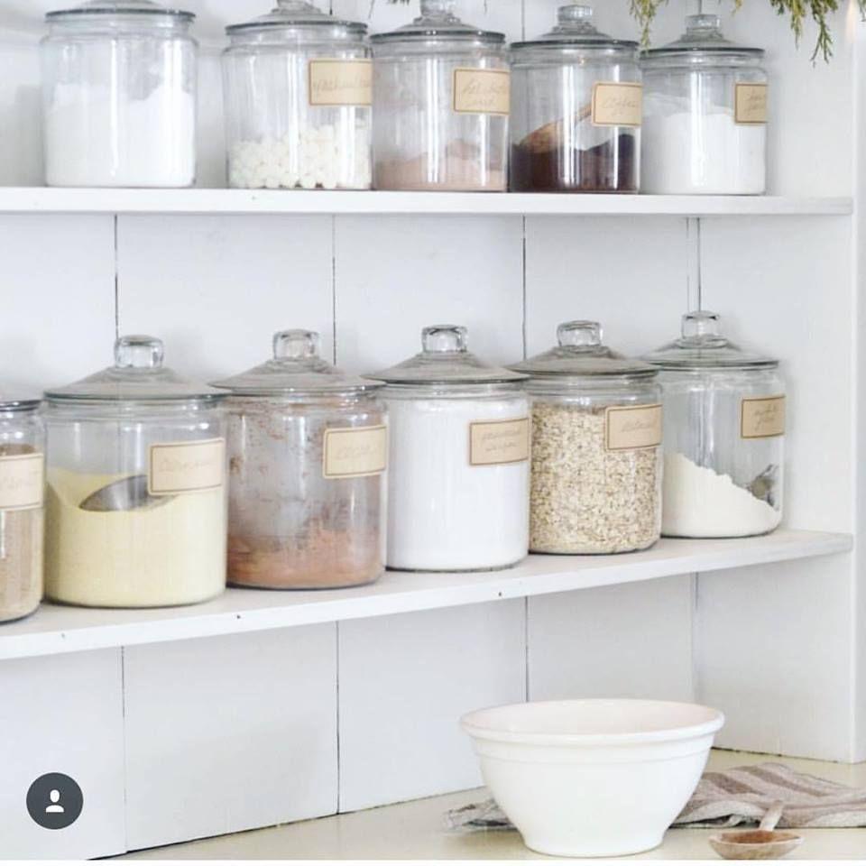 Glass jar kitchen storage  Farmhouse style kitchen, Joanna gaines