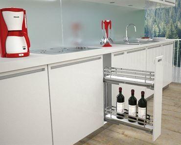 SIGE Side Mount Soft Close Bottle Rack Left Hand. For 150mm carcase. Size: 110W x 500D x 520H