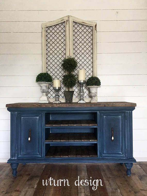 Sold ** Vintage black distressed buffet media stand coffee bar or changinf table