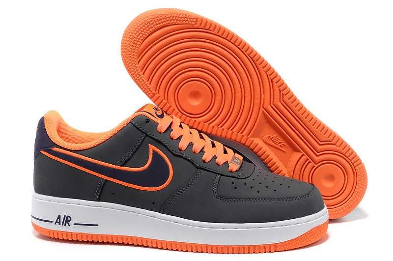 259ef8322dd Mens Nike Air Force One Low Basketball Shoes Dark Grey Imperial Blue-Total  Orange Force One Shoes Sale Online