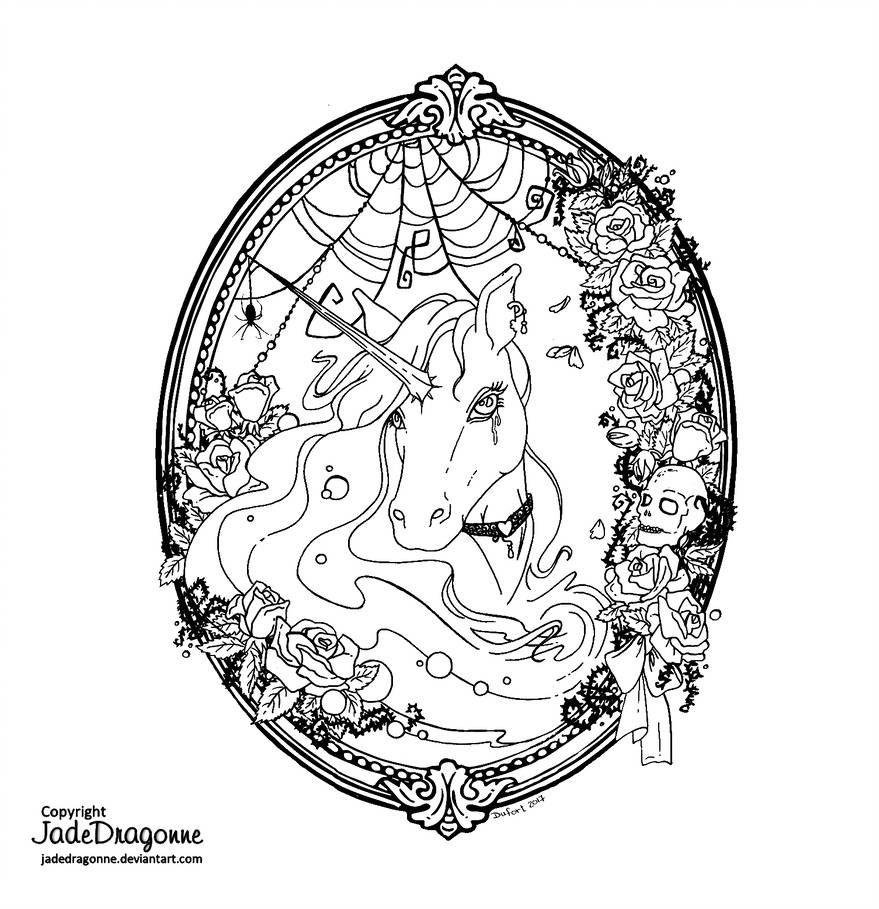 Gothic Unicorn - Lineart by https://www.deviantart.com ...