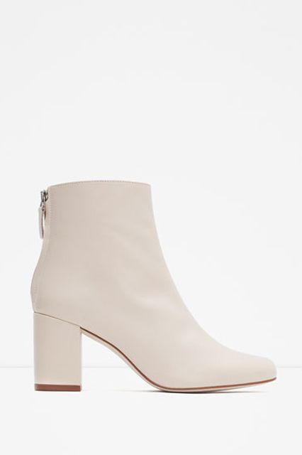e37a38ba4e Zara Picks You Should Buy Right Now | Lookbooks | White ankle boots, White heel  boots, White leather ankle boots