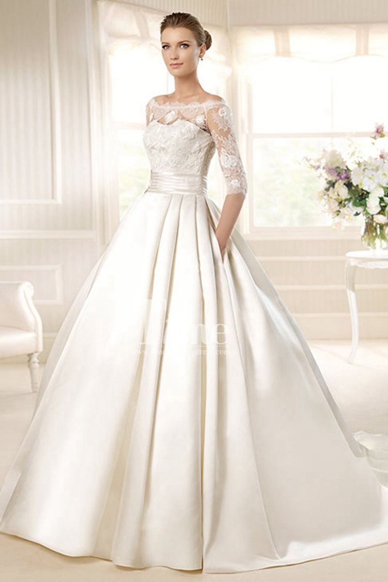 Half sleeves ball gown off the shoulder neckline satin whiteivory