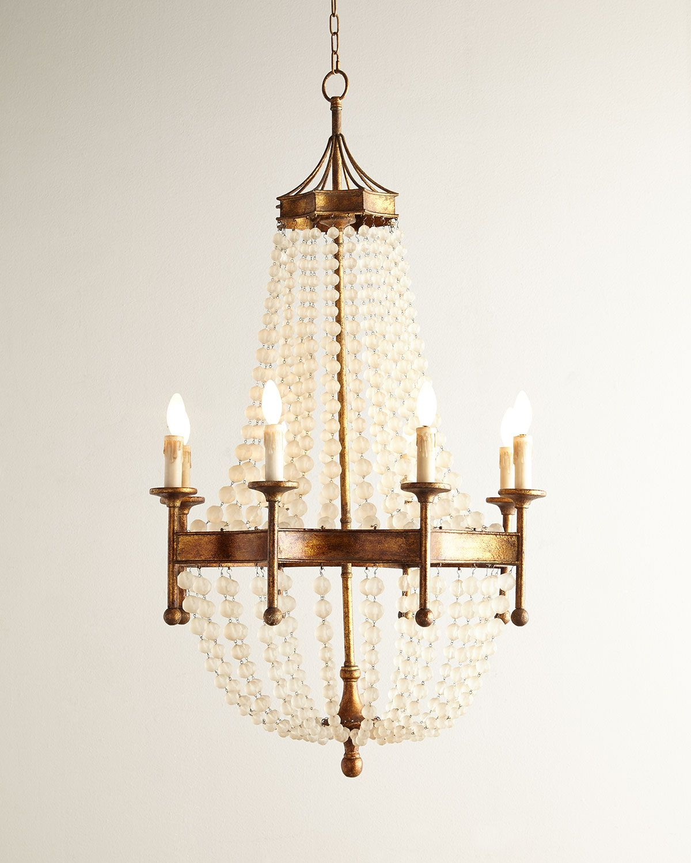 Frosted crystal bead eight light chandelier regina andrew design