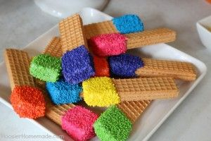 Diy Rainbow Birthday Party Ideas For Colorful Commemoration Food Garden Craft Do This With Pretzel Sticks