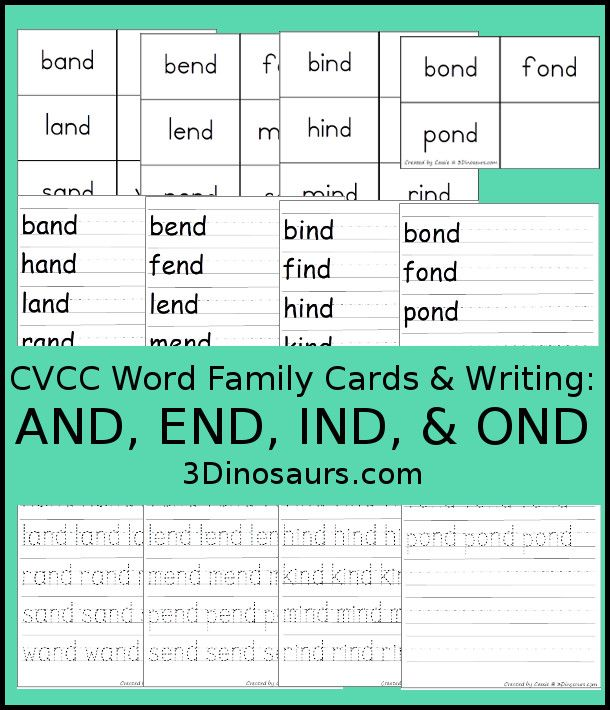 Free CVCC Word Family Cards \ Writing AND, END, IND, \ ONDu2026 3 - comparison template word
