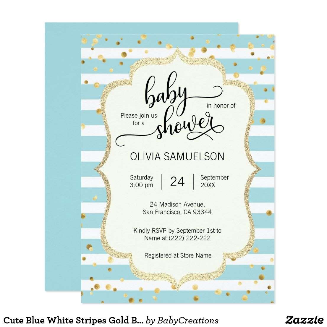 cute blue white stripes gold boy baby shower invitation oh baby