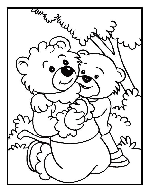 Kid Bear Love Mommy On Mothers Day Coloring Picture For Kids
