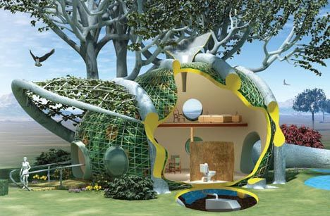 Growing Futuristic Green Treehouse Dornob Home Grown Diy Living Tree House Design Idea Refsearch