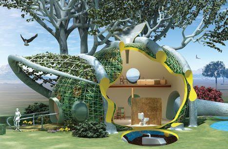growing-futuristic-green-treehouse http://dornob.com/home-grown ...