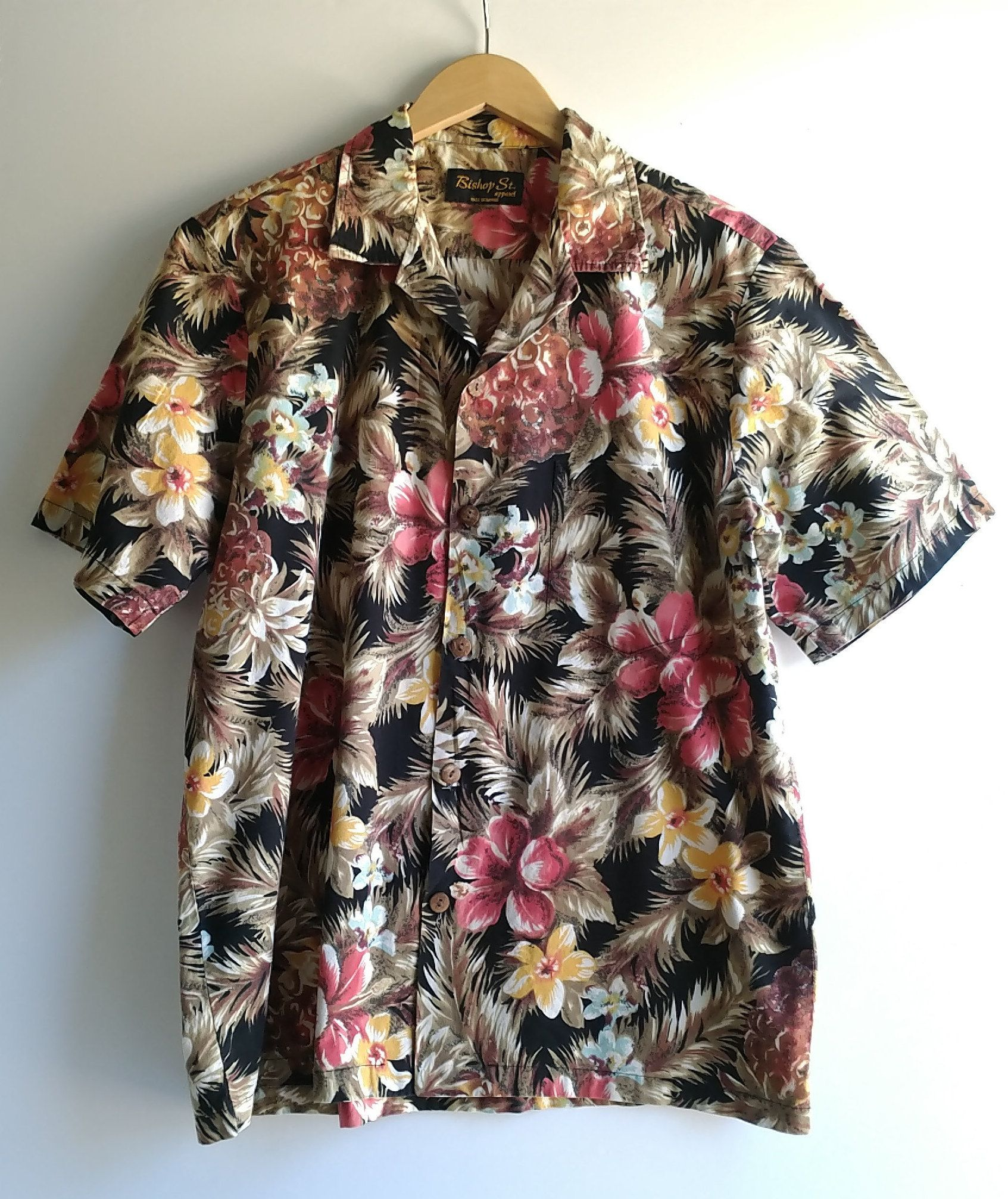 7f9179c9 Hawaiian Shirt VINTAGE BISHOP STREET Apparel Men's M Hawaiian Floral  Tropical Polynesian Print by RandomAmazing on Etsy