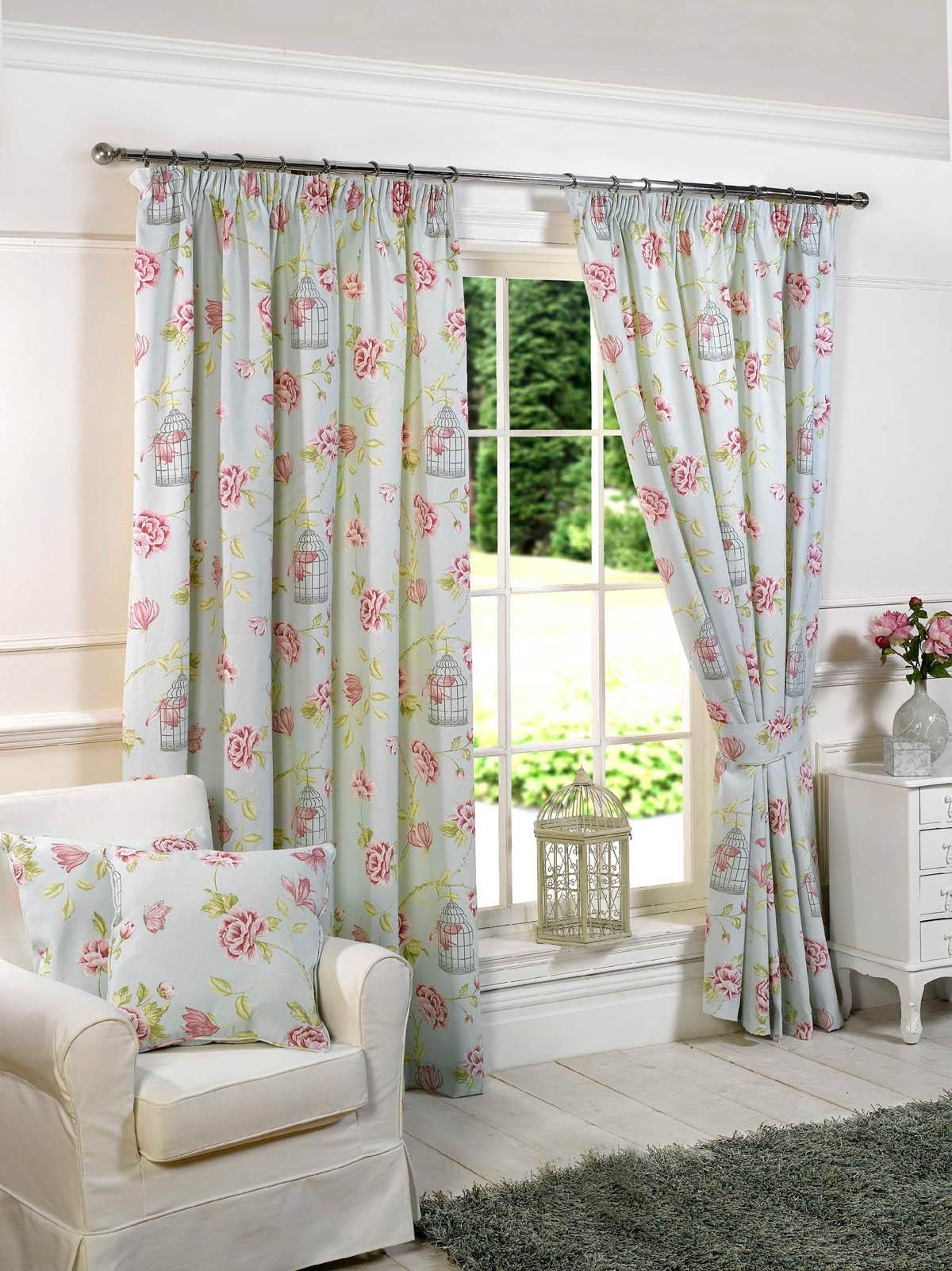 Room Charlotte Ready Made Lined Curtains Duckegg Blue
