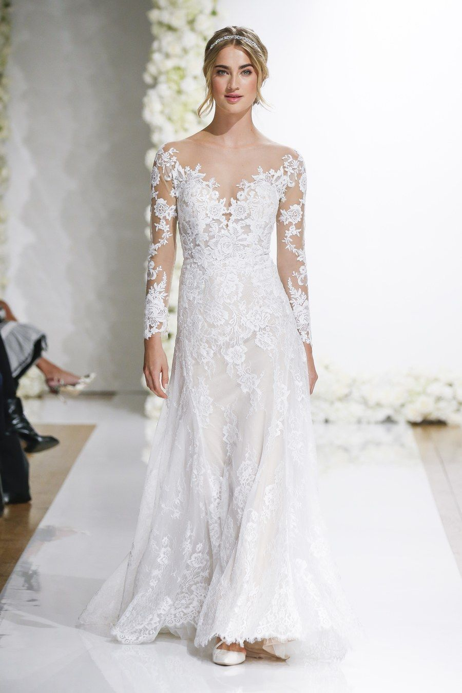 Lace wedding dress with illusion neckline and sleeves Morilee by