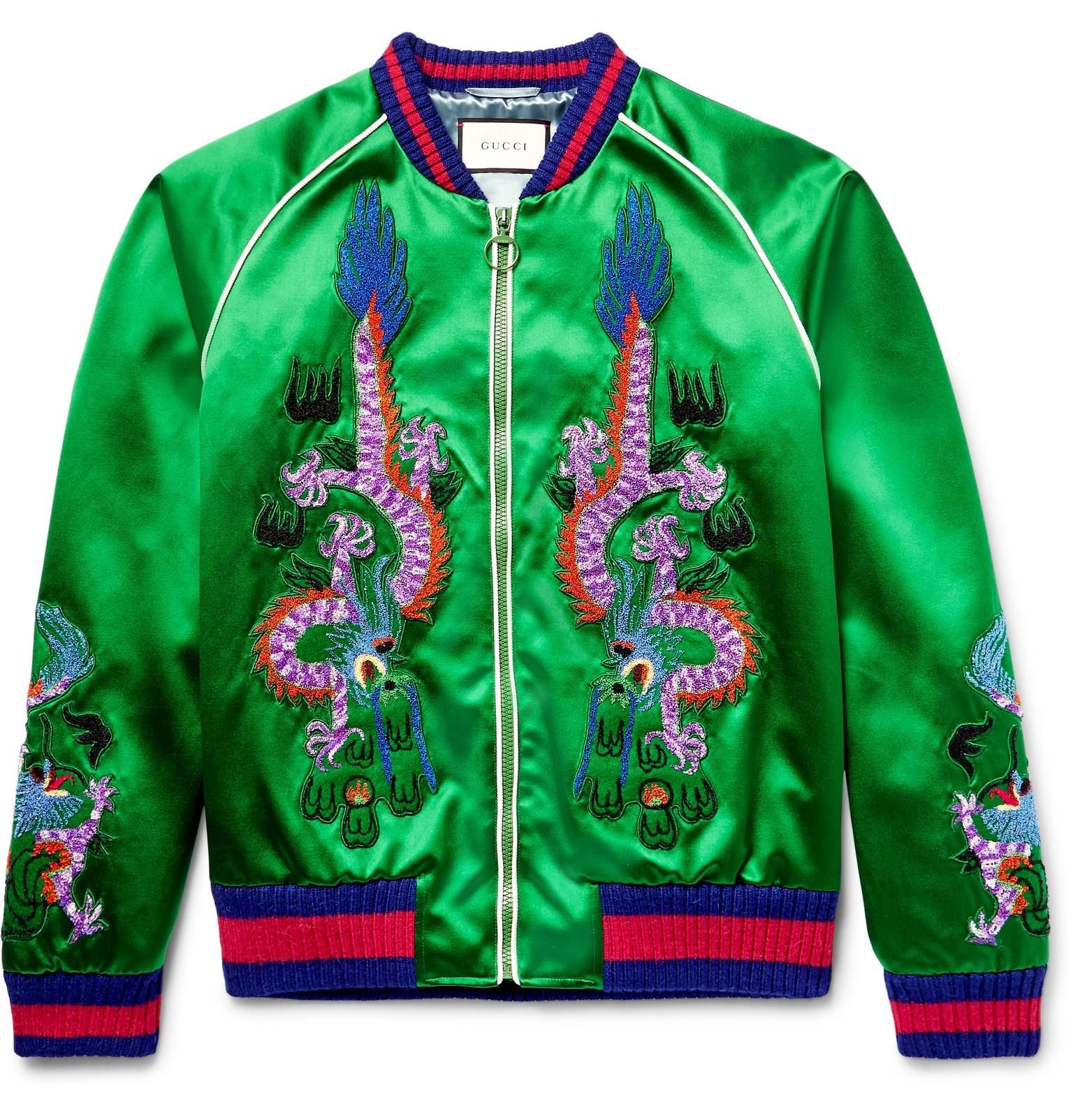 9d315db11 gucci bomber jackets with dragons | Gucci Appliquéd Silk-satin Bomber Jacket  in Green for Men | Lyst