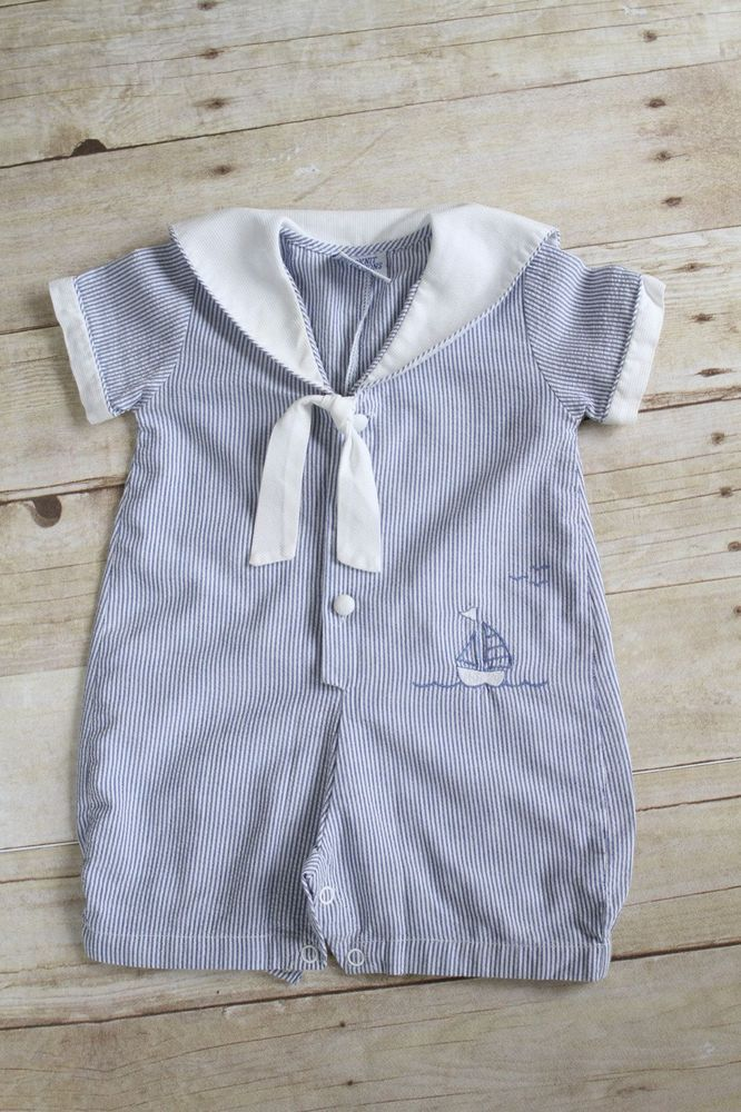 4248ad2745a2 Baby Boy Sailor Dress Romper Size 6 Months
