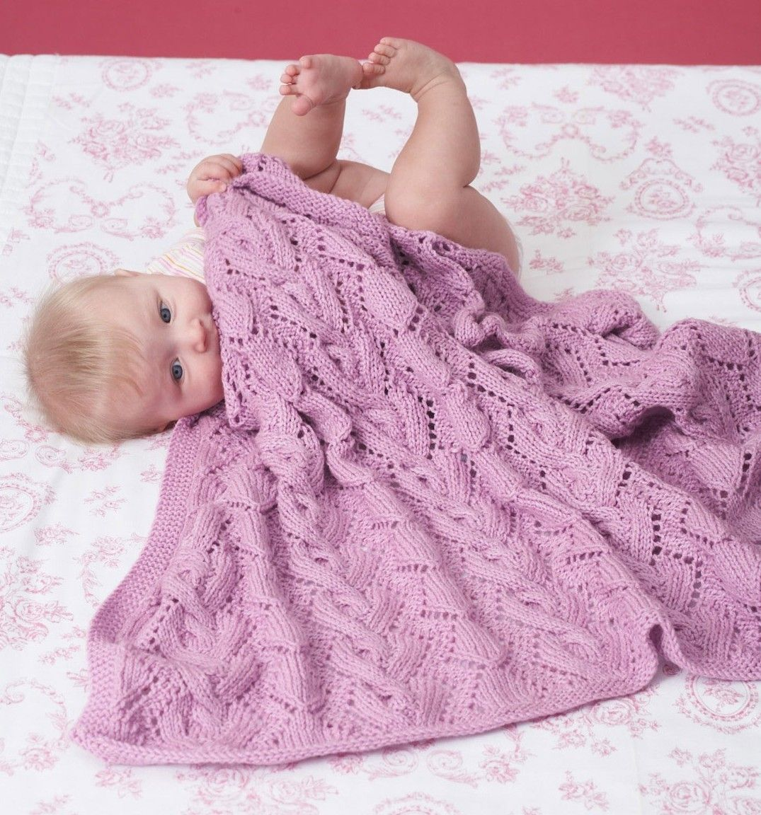 Free knitting pattern for Cable and Lace Baby Blanket and more baby ...