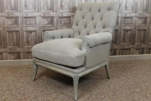 LARGE FRENCH STYLE BUTTON BACK ARMCHAIR IN STONE