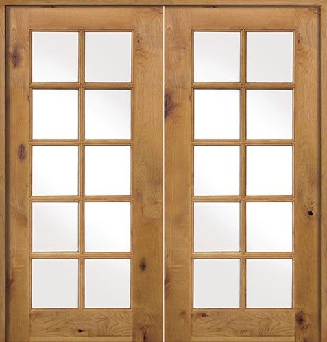 Interior french 10 lite knotty alder prehung double wood for Prehung interior french doors