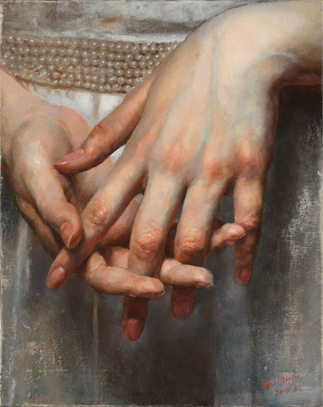 Photo of Hands; oil on canvas; by He Lihuai (ARC Living Master ™); born in Chongqing, C…