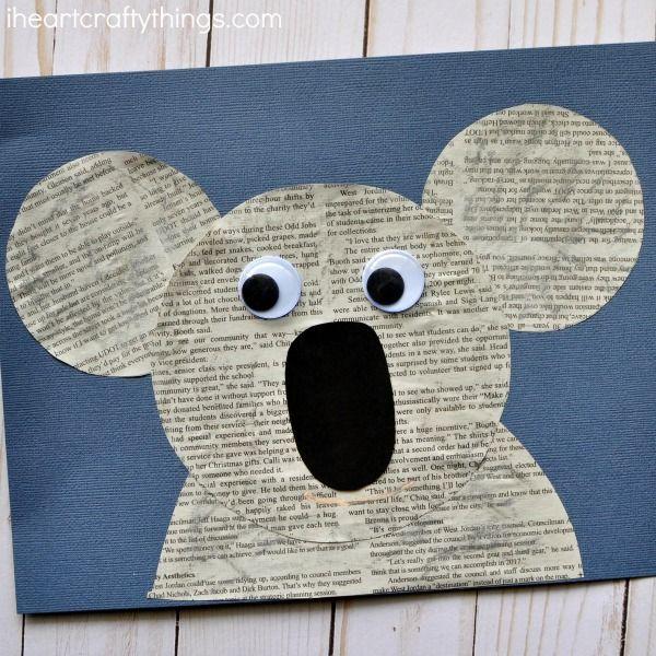 Cute Newspaper Koala Craft Kid S Crafts Activities Koala Craft