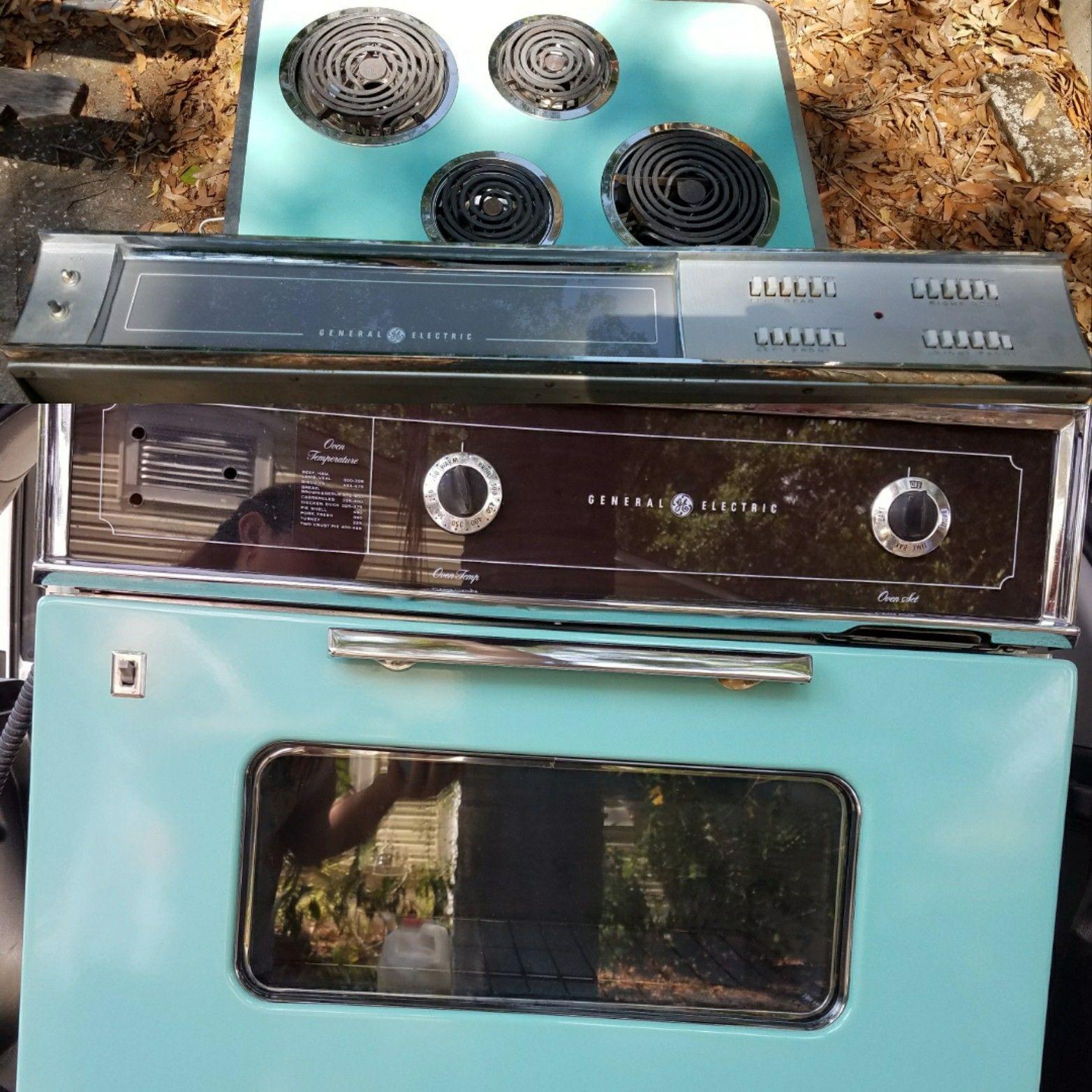 Vintage GE Wall Oven Range Hood Cooktop Electric Teal Turquoise Aqua ...