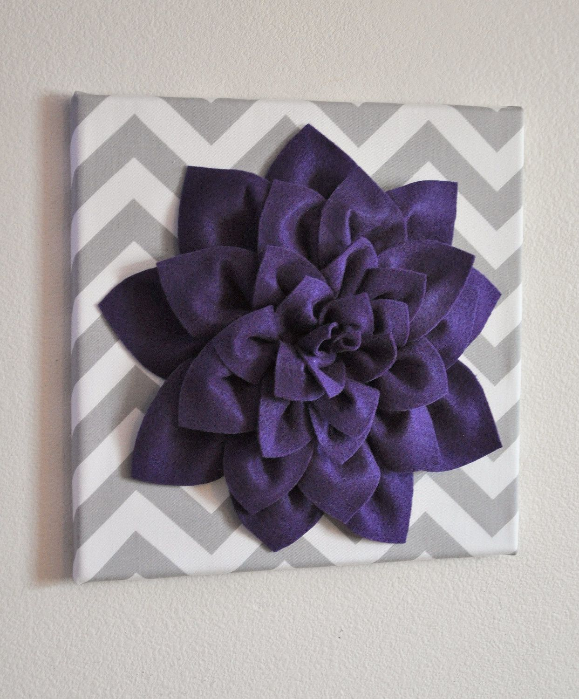 Wall Flower -Deep Purple Dahlia on Gray and White Chevron 12 x12 ...