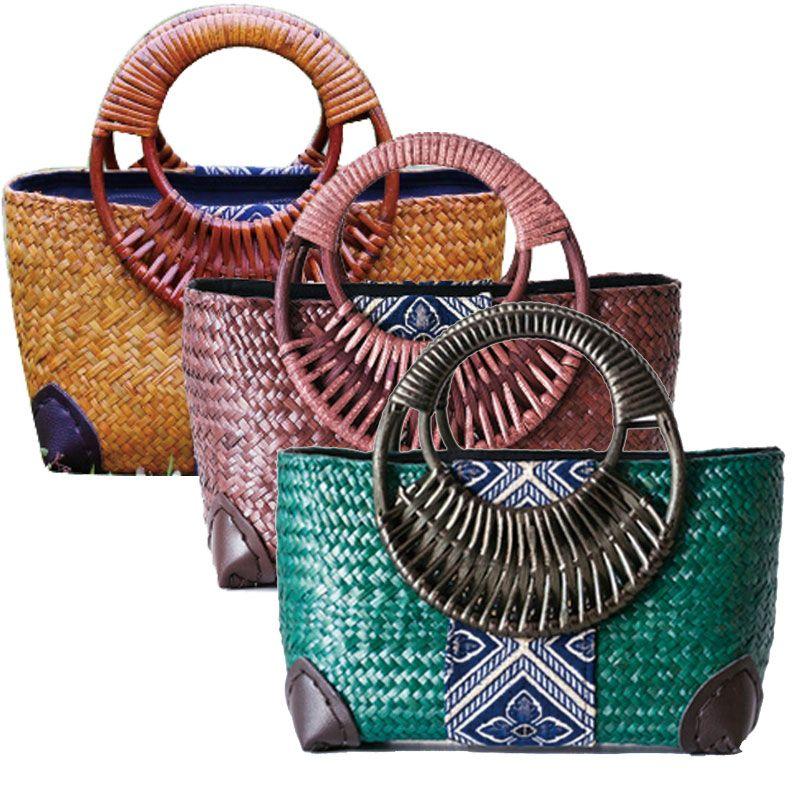 c995e5e72 New Thai handmade grass woven bag beach bag national wind handbags purse  bag bag bamboo handle handle bag-in Top-Handle Bags from Luggage & Bags on  ...