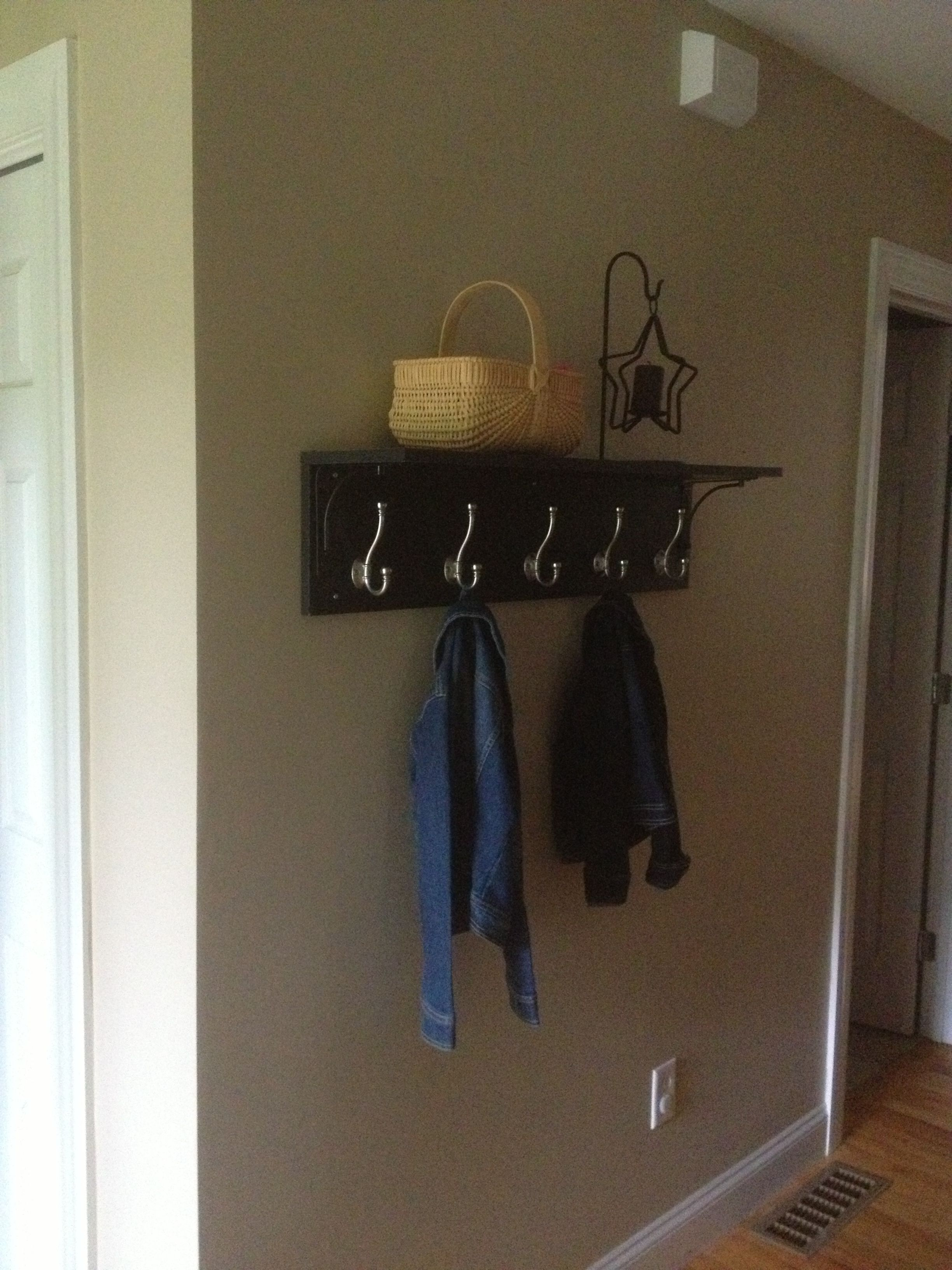 Diy Coat Rack Two Prefab Laminate Shelf Boards Two Shelf Brackets And Decorative Hooks Screw One Board Flat A Diy Coat Rack Diy House Projects Diy Furniture