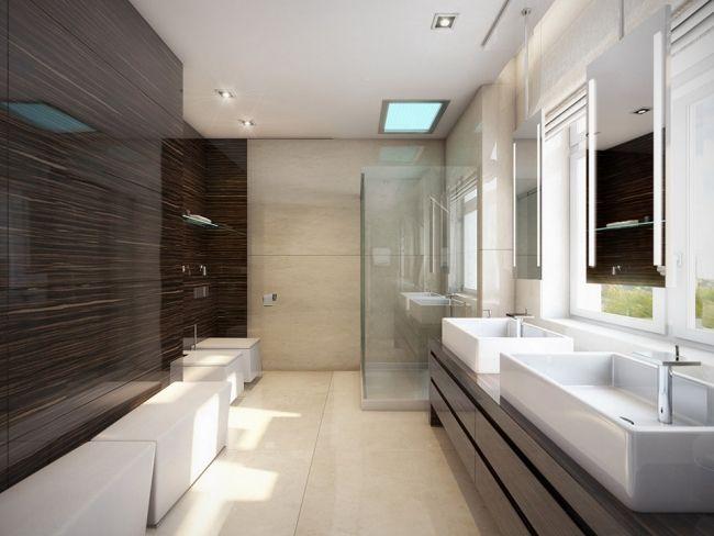 badezimmer ohne fliesen glas wandpaneele holzoptik dunkel. Black Bedroom Furniture Sets. Home Design Ideas
