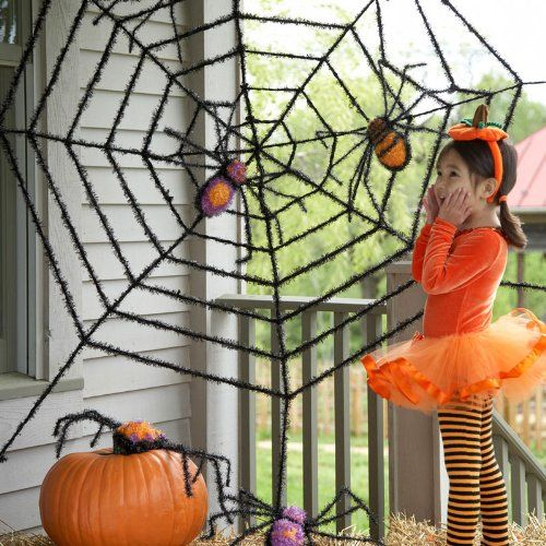 Giant Spider Web and Giant Spiders Scary Halloween Home Decorations - giant spider halloween decoration
