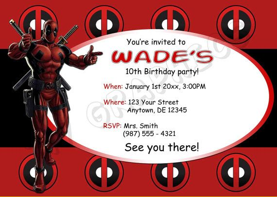 Deadpool Birthday Invitation Printable Deadpool