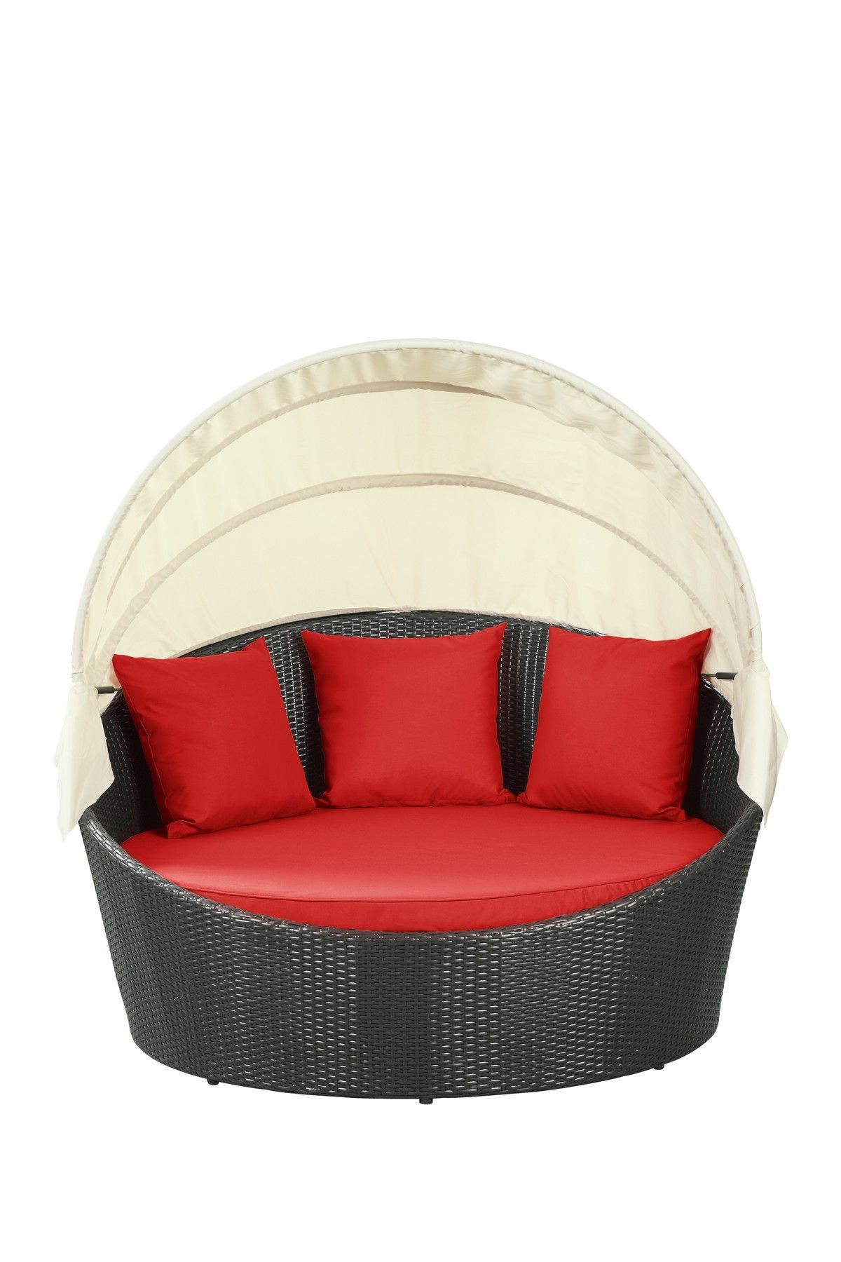 Siesta Outdoor Wicker Patio Canopy Bed - Espresso/Red---how fun! #TruckCanopyIdeas  sc 1 st  Pinterest & Siesta Outdoor Wicker Patio Canopy Bed - Espresso/Red---how fun ...
