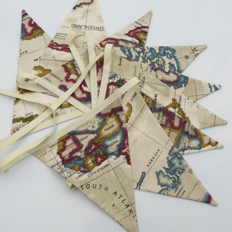 world map fabric bunting nautical style atlas beige 9 double sided flaga