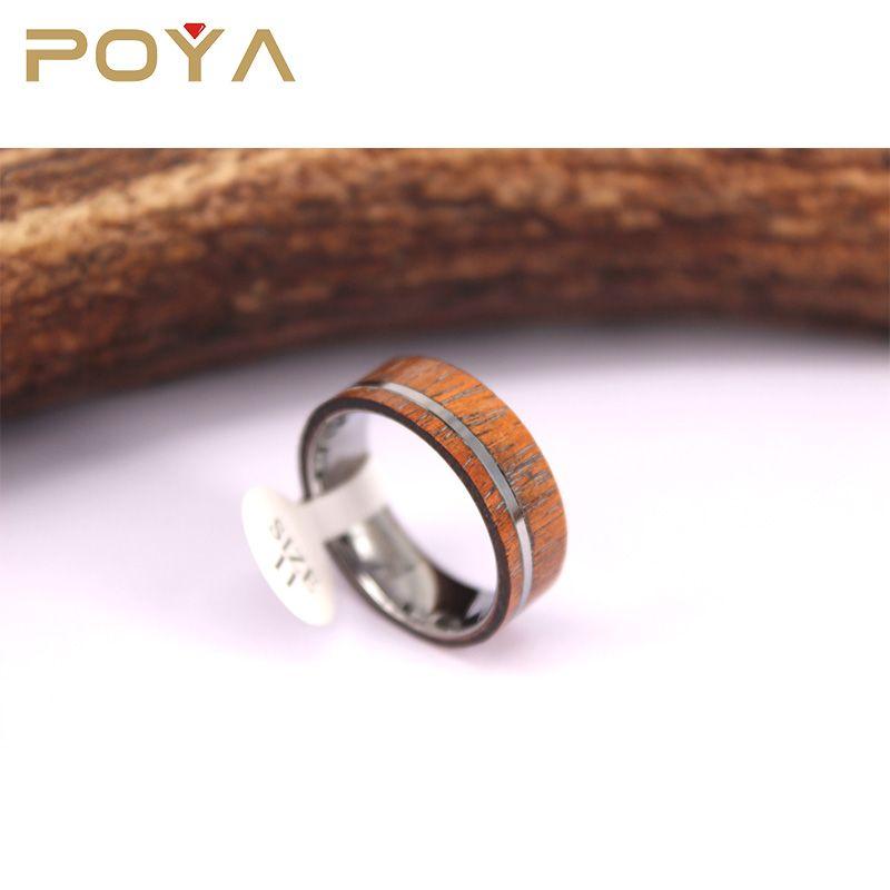 Poya Jewelry New Style Hawaii Koa Wood Inlay Fashion Wedding Bands Comfort Fit For Mens Blank