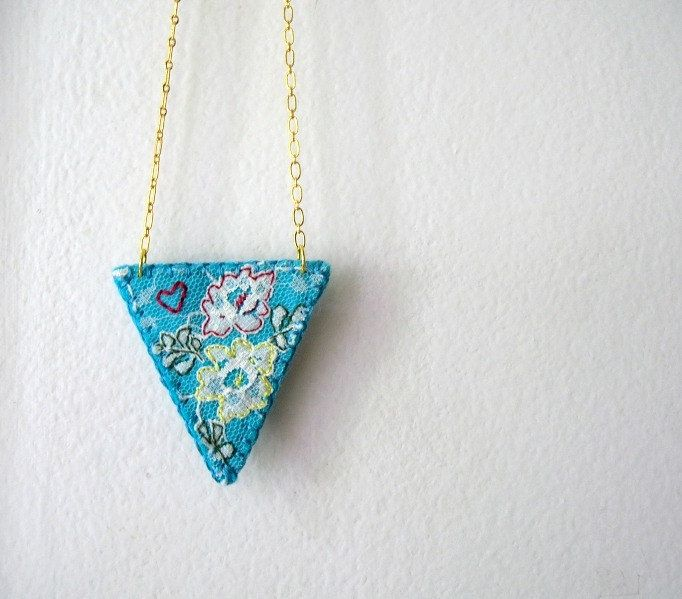 Embroidered Lace Necklace Blue Raspberry Lace and Felt Tea Rose Series One of a Kind by OrdinaryMommy. $18.00, via Etsy.