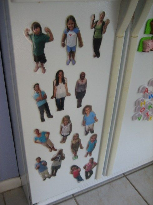 Family Magnets  This would be fun to do with extended family the kids don't get to see very often...or for little cousins.