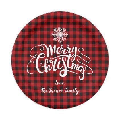 sc 1 st  Pinterest & Red Buffalo Merry Christmas Snowflake Monogram Paper Plate