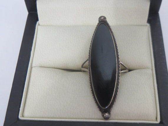 Vintage Sterling Silver  Elongated Black Onyx   Ring Size (7 3/4) w Multiple Trademarks on Etsy, $30.00