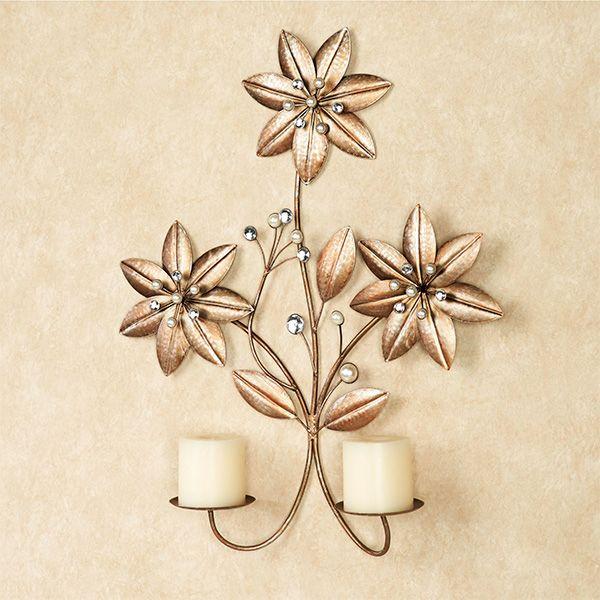 Evianna Gem Flower Double Wall Sconce | Double wall sconce ... on Candle Wall Sconces With Flowers id=61222