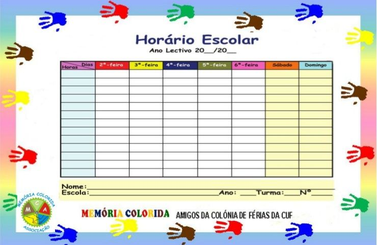 Horario Escolar Para Imprimir Modelos De Horarios Horario