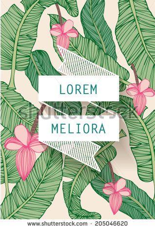 banana leaf tropical leaf template vector illustration stock