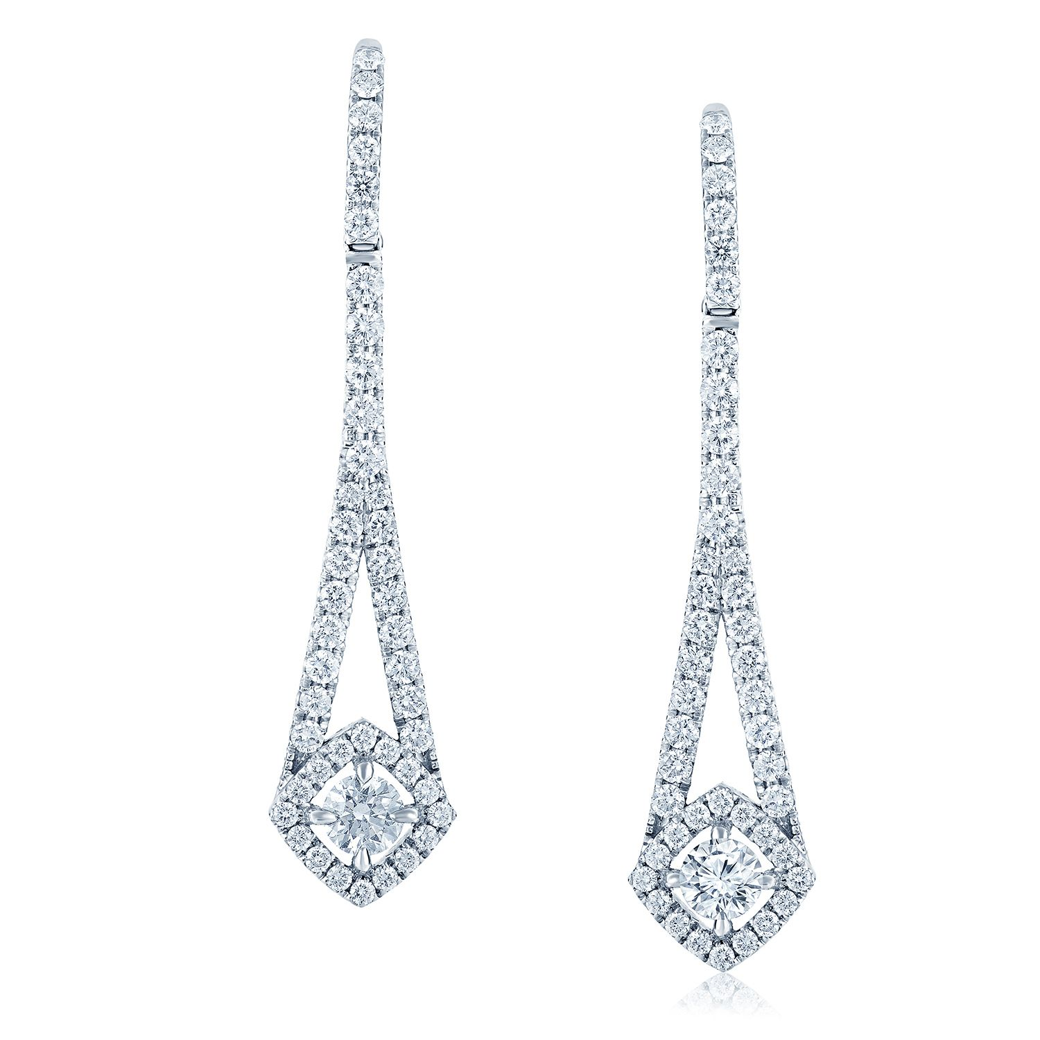 Verstolo Penelope These Hanging Diamond Earrings Feature Round Brilliant Center Stoneicro Pave Detailing That Are Set In 18k White Gold