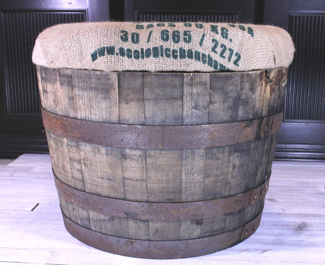 Rustic Storage Ottoman old whiskey or wine barrel with 3 inch