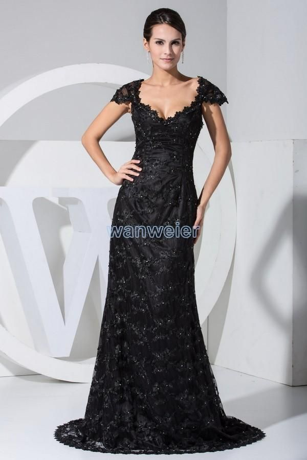 Wholesale 2015 Sexy Dresses - Buy 2015 New Sexy Black Lace And Organze Portrait Evening Party Dresses V Neck Applique Tulle Floor Length Court Train Prom Gowns, $117.28 | DHgate.com