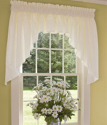 Country Floral Lace Lined Swag Cortinas Cortinaje Y