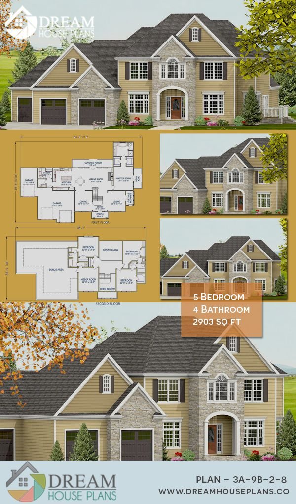 Dream House Plans Popular Southern 5 Bedroom 2903 Sq Ft House Plan With Custom Home Plan Options W House Blueprints Simple House Plans Family House Plans