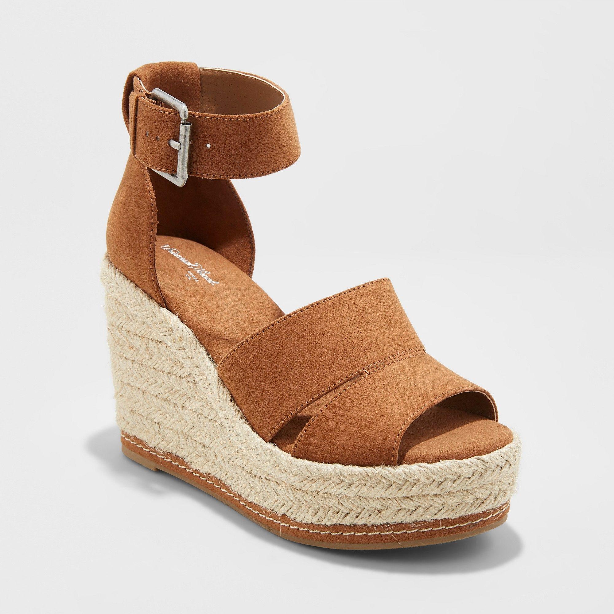 5dc40a0875d Women s Caroline Wide Width Microsuede Ankle Strap Espadrille Wedge -  Universal Thread Cognac (Red) 11W
