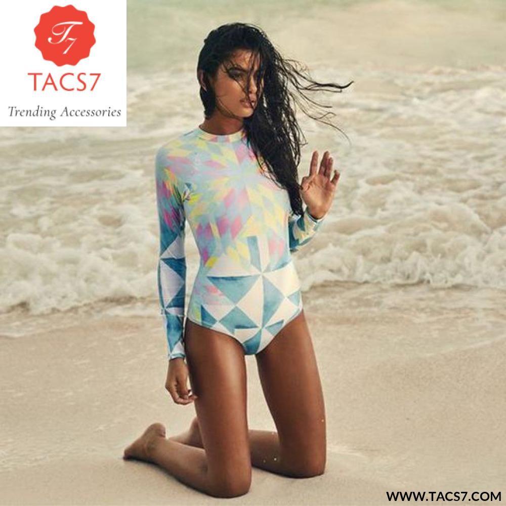 679ed068489b Print Floral One Piece Swimsuit Long Sleeve Swimwear Women Bathing Suit  Retro Swimsuit Vintage One-piece Surfing Swim Suits